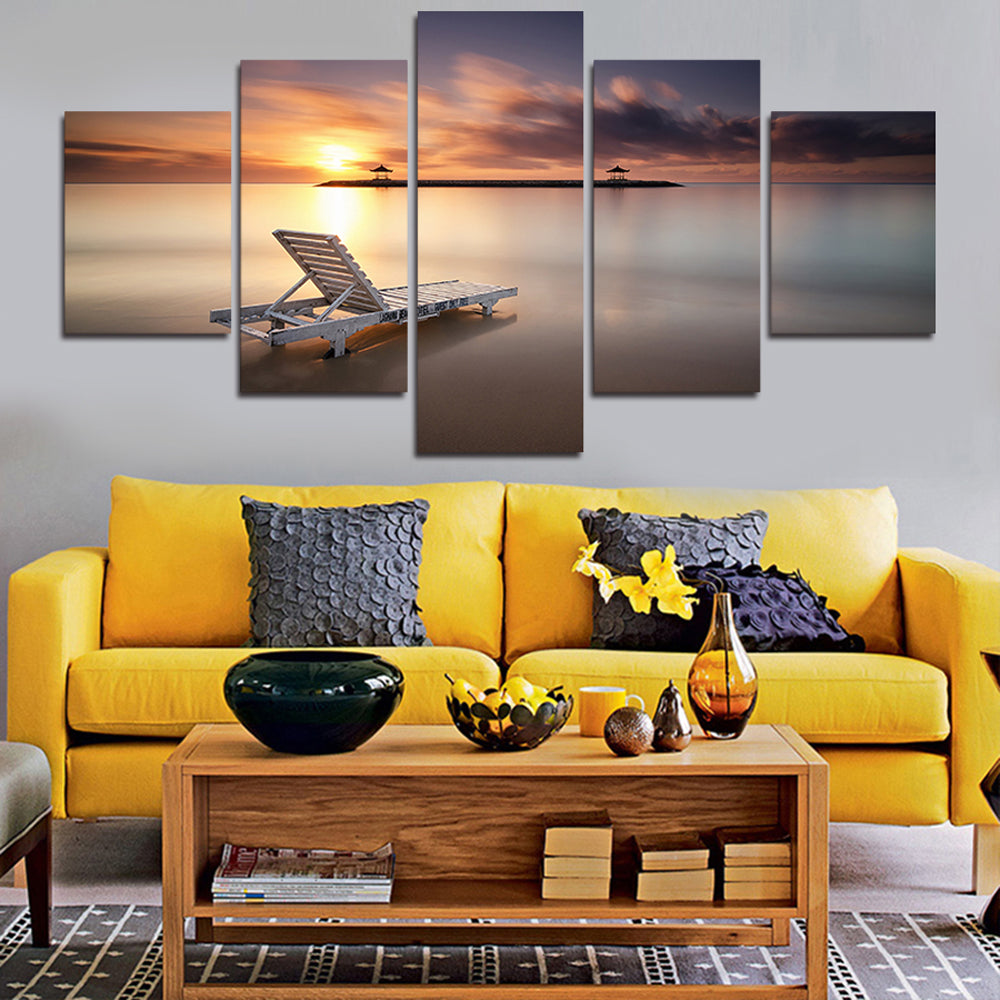 Sunset Beach 5 Panels Wood N Canvas Wall Art Paintings