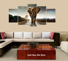 Load image into Gallery viewer, Sunset Elephant 5 Panels Wood N Canvas Wall Art Paintings