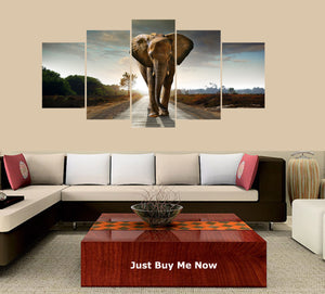 Sunset Elephant 5 Panels Wood N Canvas Wall Art Paintings