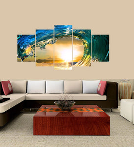 Sunset Sea Wave 5 Panels Wood N Canvas Wall Art Paintings