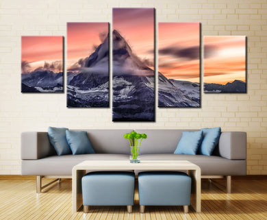 Sunset Volcano Snow Mountain 5 Panels Wood N Canvas Wall Art Paintings