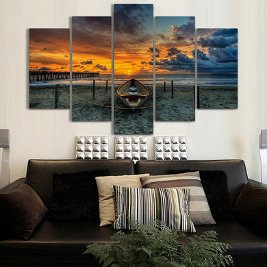 Sunsetting Sun and Fishing Boat 5 Panels Wood N Canvas Wall Art Paintings