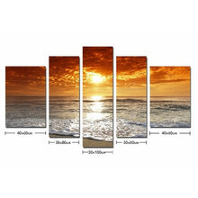 Load image into Gallery viewer, Sunsetting sun and sea 5 Panel Wall Art Canvas Painting