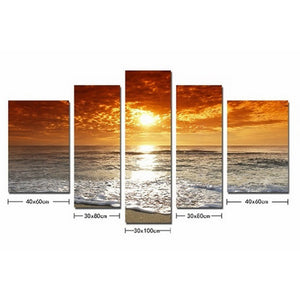 Sunsetting sun and sea 5 Panel Wall Art Canvas Painting