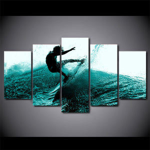 Surfing 5 Panels Wood N Canvas Wall Art Paintings