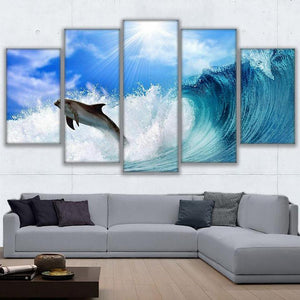 Surfing Dolphin 5 Panels Wood N Canvas Wall Art Paintings