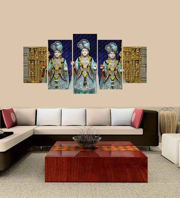 Swaminarayan 5 Panels Wood N Canvas Wall Art Paintings