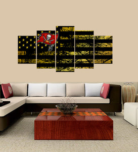 Tampa Bay Buccaneers logo 5 Panels Wood N Canvas Wall Art Paintings