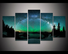 Load image into Gallery viewer, Tarburst Over Aurora Boreal 5 Panels Wood N Canvas Wall Art Paintings