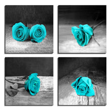 Load image into Gallery viewer, Teal Black and White Rose 4 Panels Wood N Canvas Wall Art Paintings