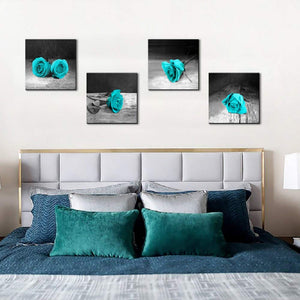 Teal Black and White Rose 4 Panels Wood N Canvas Wall Art Paintings