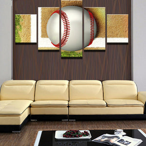 Tennis Ball 5 Panels Wood N Canvas Wall Art Paintings