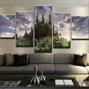 The Beautiful Castle 5 Panels Wood N Canvas Wall Art Paintings
