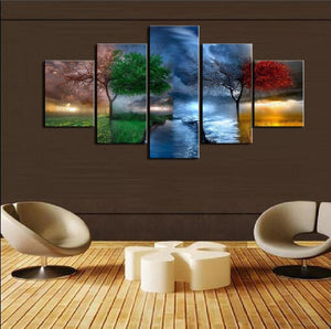 The Colored Seasons 5 Panels Wood N Canvas Wall Art Paintings