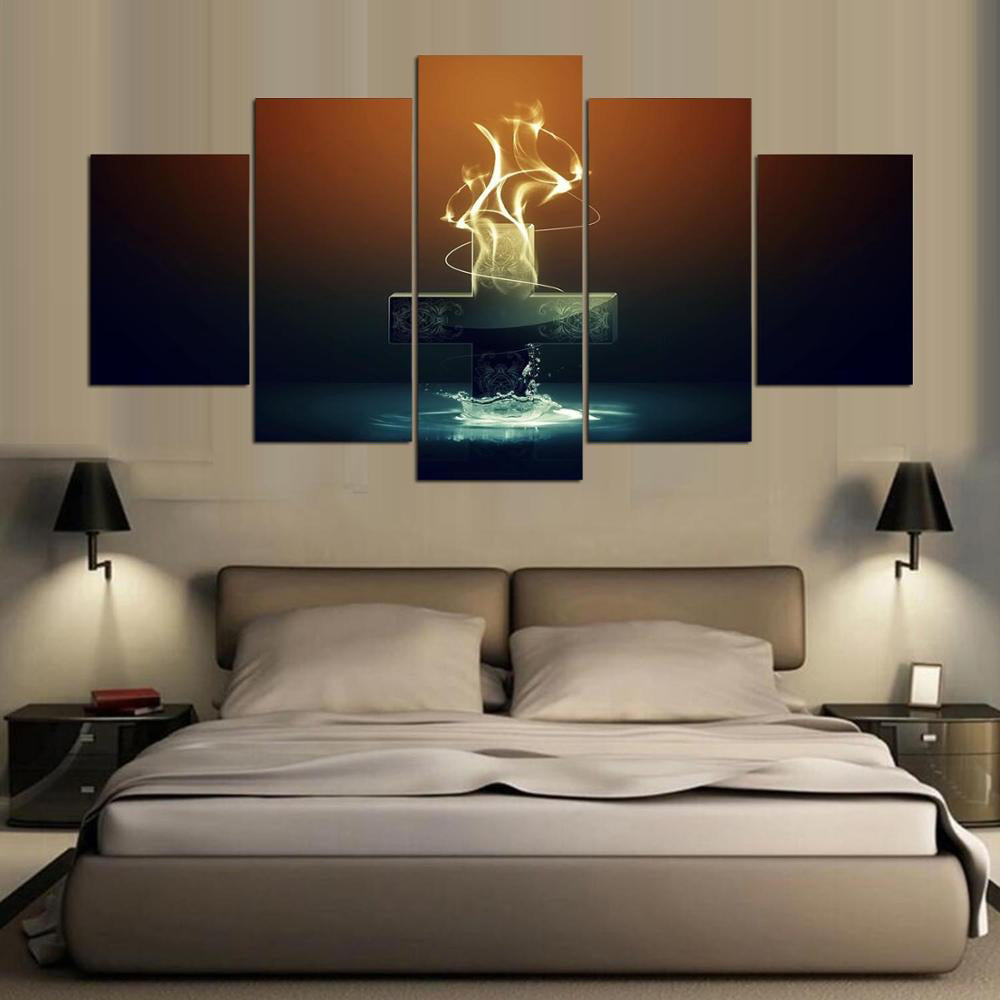 The Cross Christmas 5 Panels Wood N Canvas Wall Art Paintings