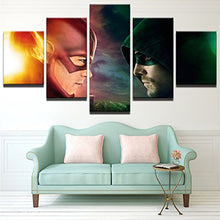 Load image into Gallery viewer, The Flash VS Arrow 5 Panels Wood N Canvas Wall Art Paintings