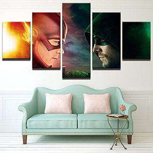 The Flash VS Arrow 5 Panels Wood N Canvas Wall Art Paintings