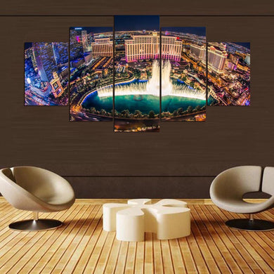 The Fountain 5 Panels Wood N Canvas Wall Art Paintings