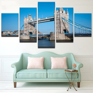 The Golden Gate Bridge-1 5 Panels Wood N Canvas Wall Art Paintings