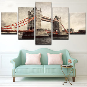 The Golden Gate Bridge 5 Panels Wood N Canvas Wall Art Paintings