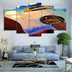 The Guitar Art 5 Panels Wood N Canvas Wall Art Paintings