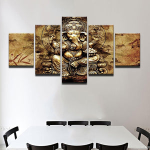 The Hindu God Ganesh 5 Panels Wood N Canvas Wall Art Paintings