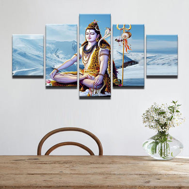 The Hindu God Shiva - Sky 5 Panels Wood N Canvas Wall Art Paintings