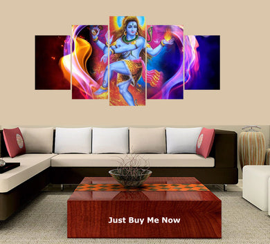 The Hindu God Shiva 5 Panels Wood N Canvas Wall Art Paintings