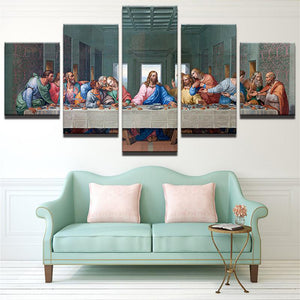 The Last Supper 5 Panels Wood N Canvas Wall Art Paintings