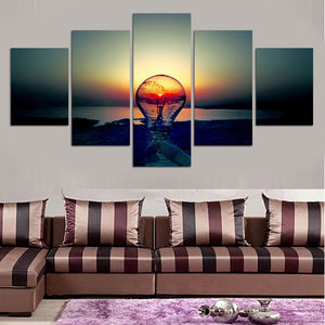The Light Bulb 5 Panels Wood N Canvas Wall Art Paintings