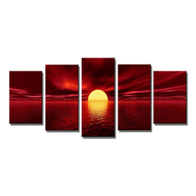 The Red Sun 5 Panels Wood N Canvas Wall Art Paintings