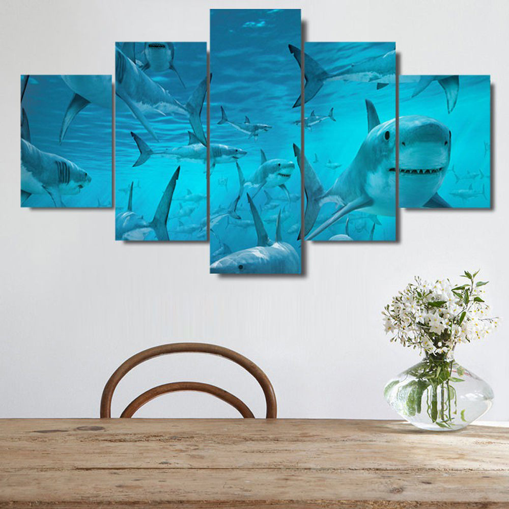 The Shark 5 Panels Wood N Canvas Wall Art Paintings