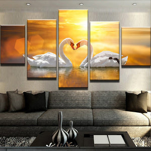 The Swans 5 Panels Wood N Canvas Wall Art Paintings