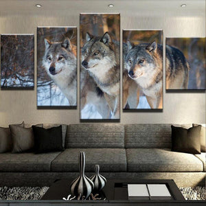 The Wolf Pack 5 Panels Wood N Canvas Wall Art Paintings