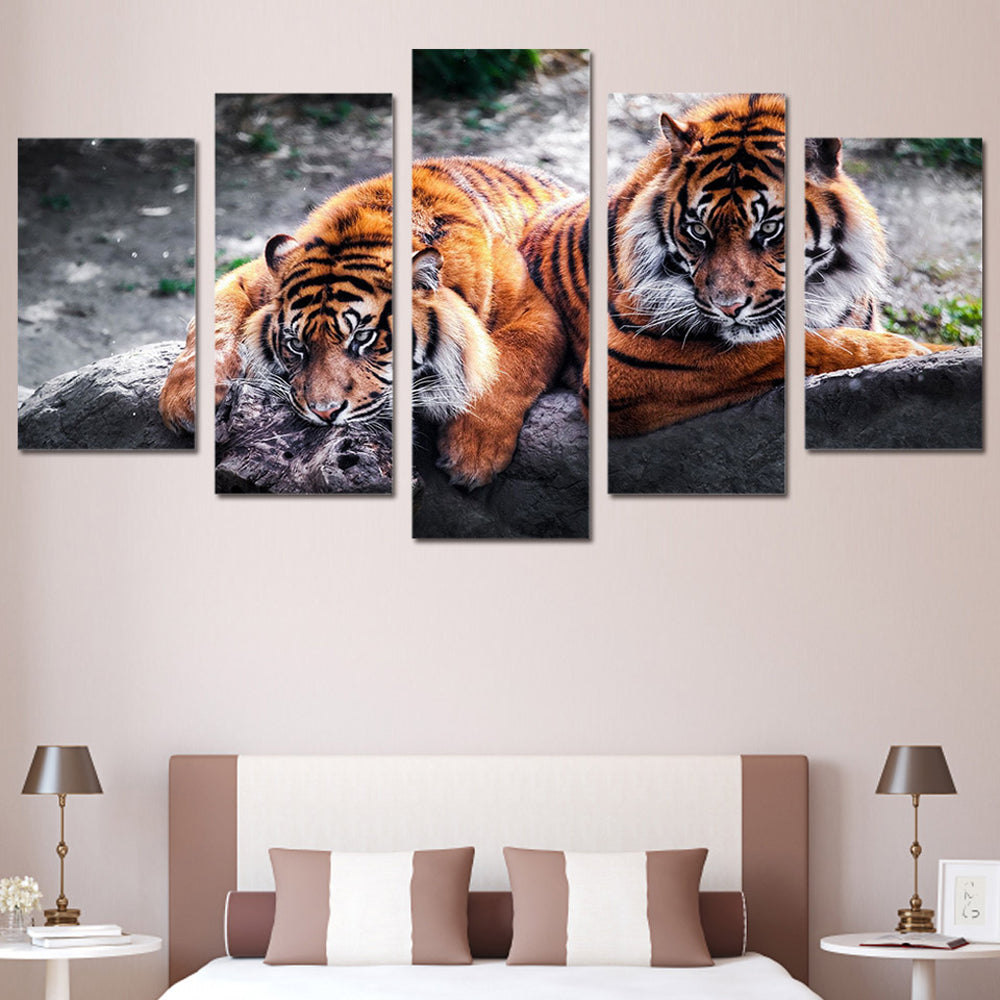 Tiger 5 Panels Wood N Canvas Wall Art Paintings
