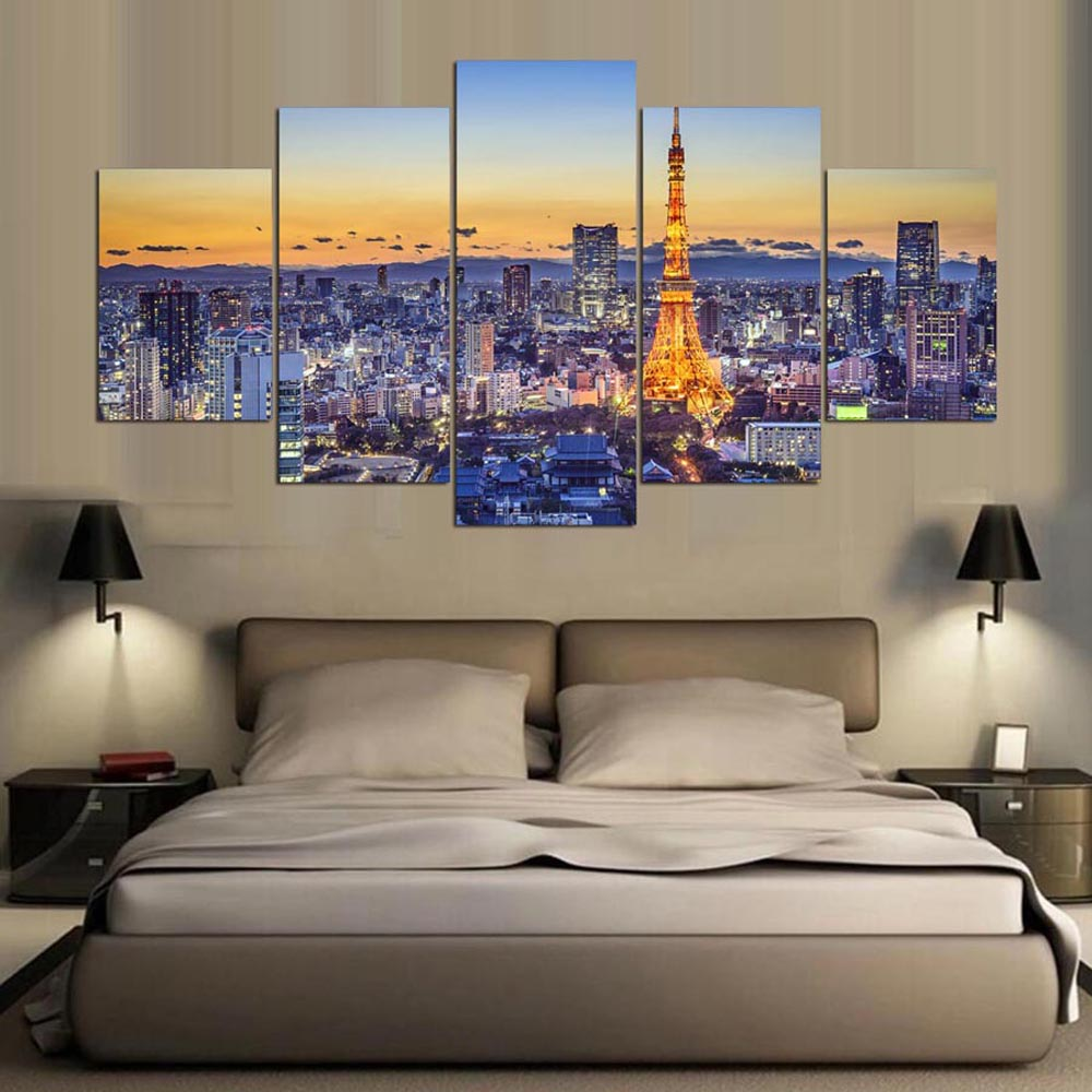 Tokyo Tower 5 Panels Wood N Canvas Wall Art Paintings
