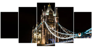 Tower Bridge 5 Panels Wood N Canvas Wall Art Paintings