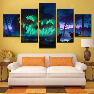 Toxic Pumpkin 5 Panels Wood N Canvas Wall Art Paintings