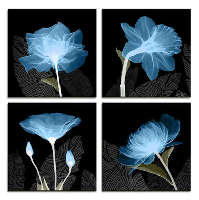 Transparent Flower 4 Panels Wood N Canvas Wall Art Paintings