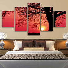 Load image into Gallery viewer, Tree Sunset 5 Panels Wood N Canvas Wall Art Paintings