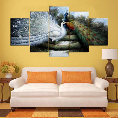 Two Beautiful Peacock 5 Panels Wood N Canvas Wall Art Paintings