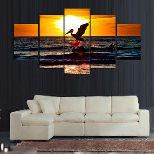 Two Pelicans In Sunset 5 Panels Wood N Canvas Wall Art Paintings