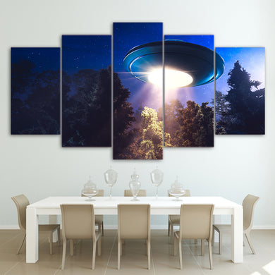 UFO Alien spacecraft sky 5 Panels Wood N Canvas Wall Art Paintings