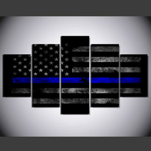 USA Thin Blue Line Flag 5 Panels Wood N Canvas Wall Art Paintings