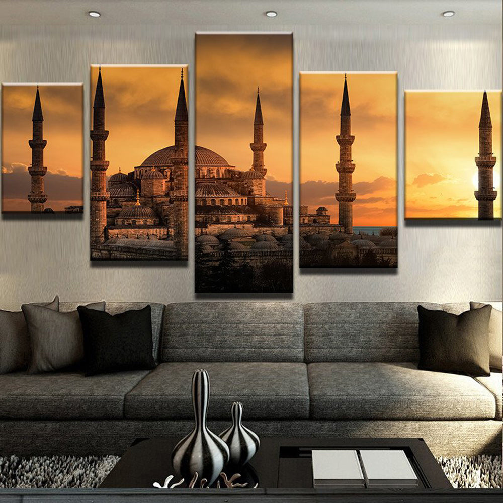 Under The Sun Of Building 5 Panels Wood N Canvas Wall Art Paintings