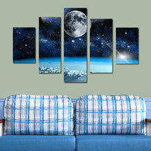 Load image into Gallery viewer, Universe Galaxy Space Moon  5 Panel Wall Art Canvas Painting 5 Panels Wood N Canvas Wall Art Paintings