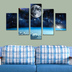 Universe Galaxy Space Moon  5 Panel Wall Art Canvas Painting 5 Panels Wood N Canvas Wall Art Paintings