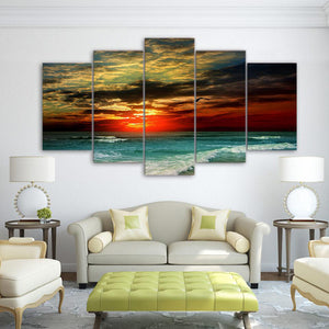 Vacation Sunset 5 Panels Wood N Canvas Wall Art Paintings