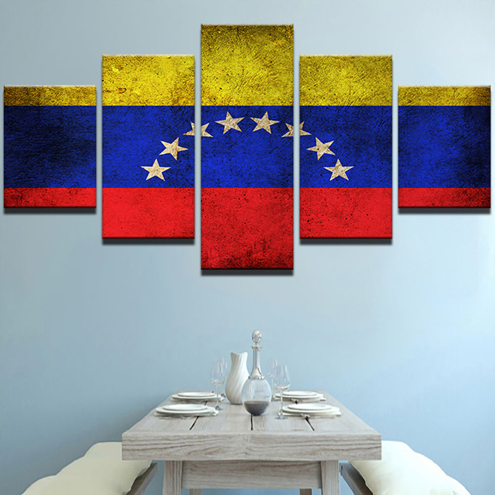 Venezuela Flag 5 Panels Wood N Canvas Wall Art Paintings