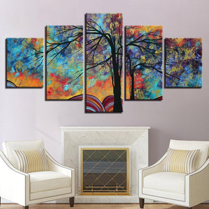 Vibrant Colors 5 Panels Wood N Canvas Wall Art Paintings